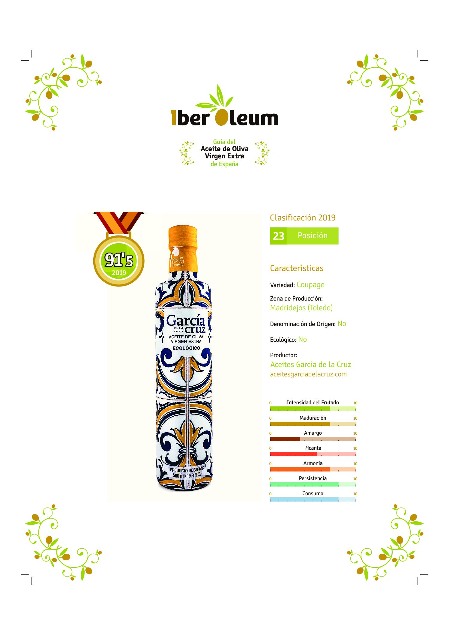 Classified among the best extra virgin olive oils of the Iberoleum guide. Master Miller.